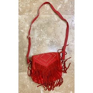 Deena & Ozzy™ Red Fringe Crossbody Shoulder Purse